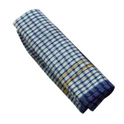 TEA TOWEL JUMBO BLUE CHECK DOZ COTTON 600X900MM