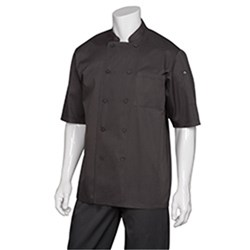 CHEF JACKET MONTREAL BLK COOL VENT S/SLEEVE LGE
