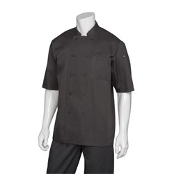 CHEF JACKET MONTREAL BLK COOL VENT S/SLEEVE XL