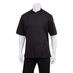 CHEF JACKET SPRINGFIELD MED MENS BLK W/- ZIPPER