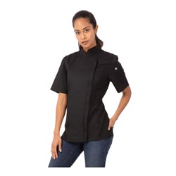 CHEF JACKET SPRINGFIELD LGE WOMENS BLK W/- ZIPPER