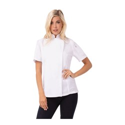 CHEF JACKET SPRINGFIELD SML WOMENS WHT W/- ZIPPER
