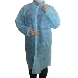 LAB COAT DISPOSABLE BLUE PP 50/CTN