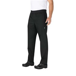 CHEF PANTS L/WEIGHT SLIM BLK DRAWSTRING SML