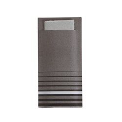 ISI CUTLERY POUCH GREY STRIPED W/- 2PLY NAPKIN 200/CTN