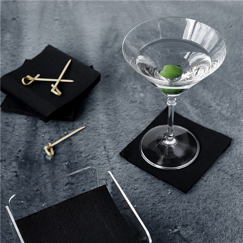2PLY COCKTAIL NAPKIN BLK COTTON FEEL 50/PKT (18)