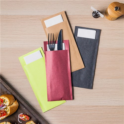 ECOLINE CUTLERY POUCH RED 100/PKT (5)