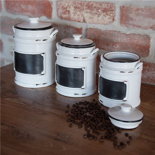 BISTROT CANISTER SML WHT BLK RIM H150MM  (12)