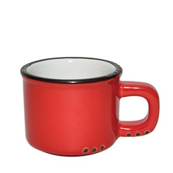 BISTROT MUG RED BLK RIM 250ML (6/48)
