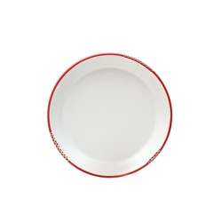 BISTROT PLATE WHT RED RIM 203MM (6/36)