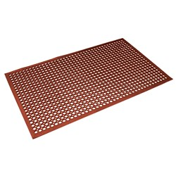 SAFETY MAT RED RUBBER NON SLIP 900X1500MM