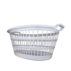 LAUNDRY BASKET OVAL PLASTIC WHITE (12)