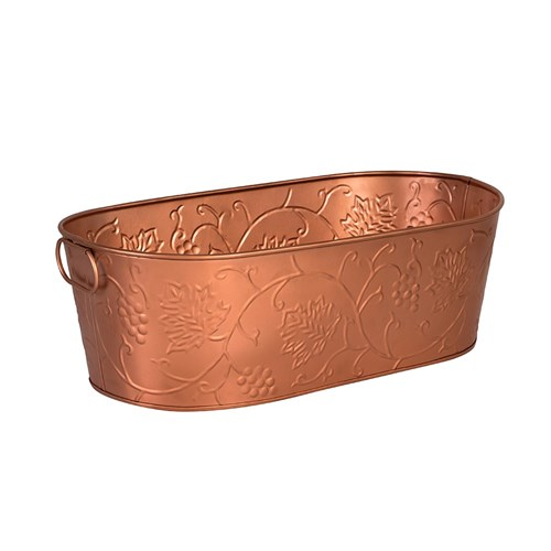 BEVERAGE TUB OVAL COPPER 460X355X220MM