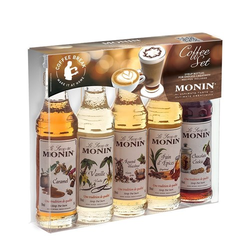 MONIN SYRUP COFFEE KIT PACK 5X50ML GLASS (12)